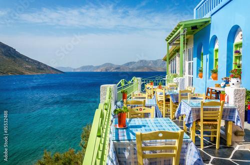 Canvas Print Typical Greek restaurant on the balcony, Greece