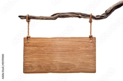 Szyld lekki drewno wisi na martwym oddziale Fototapeta
