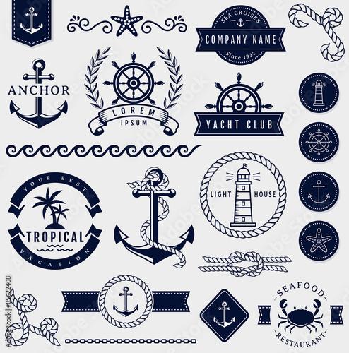 Canvas Print Sea and nautical design elements. Vector set.
