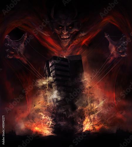 Fotografija Smiling demon looking creature destroying building  illustration.