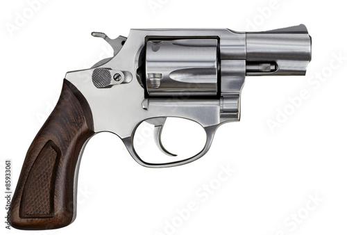 Fototapeta Pistol Revolver Handgun Isolated On White Background