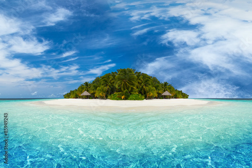 Obraz na plátne paradise tropical island with coco palms white sand and beach