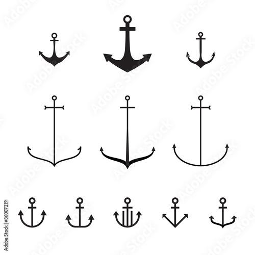 Fotografia Set of anchors, vector illustration, modern simple design, line design