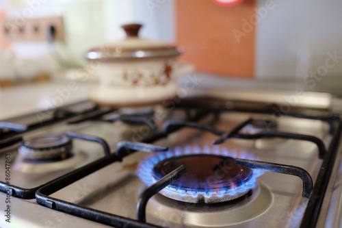 gas burning from a kitchen gas stove Fototapeta