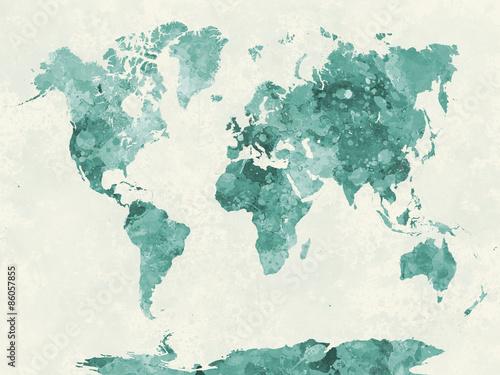 Obraz na plátně Mapa světa v akvarel zelené