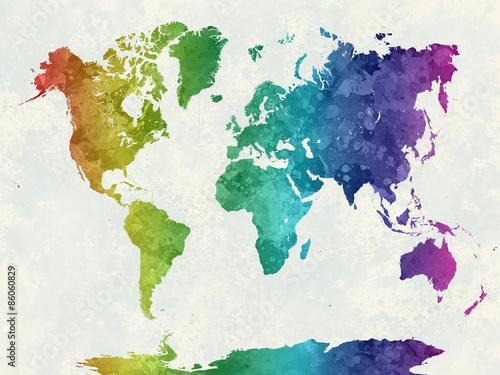 Obraz na plátně Mapa světa v akvarel duha