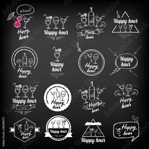 Stampa su Tela Happy hour party invitation. Cocktail chalkboard banner.