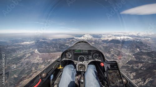 Fotografie, Tablou Cockpitaussicht über die Alpen