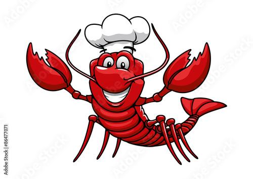 Obraz na plátně Cartoon red lobster chef in toque cap
