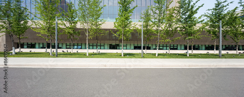 Stampa su Tela modern building with empty road floor