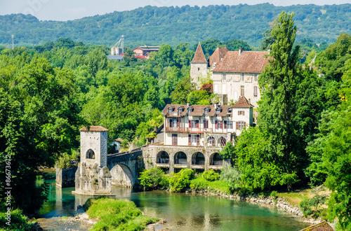 Canvas Print Pont de la Legende on the Gave d'Oloron, France