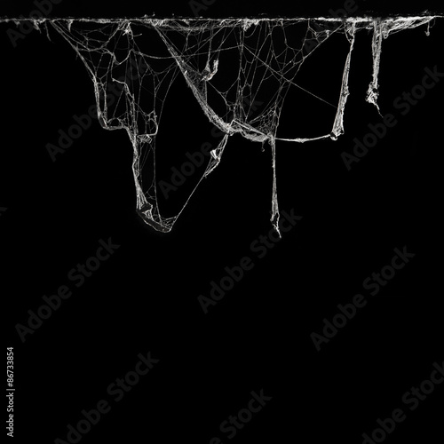 cobweb or spider web in ancient thai house isolated on black background and copy space