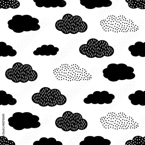 Plakat Czarno-biały wzór z chmurami