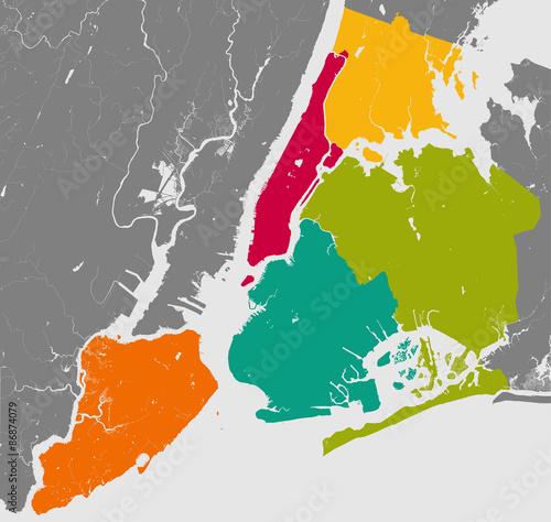 Fototapeta Boroughs of New York City - outline map.