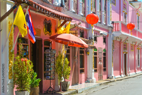 Photo Phuket old town on July 8, 2015 Phuket, Thailand
