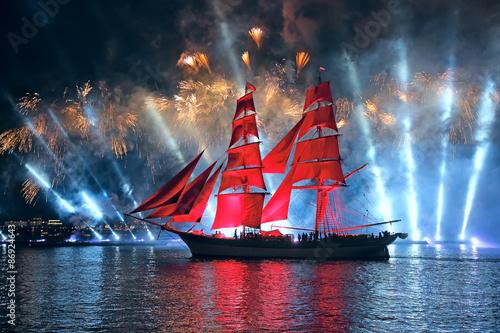 Obraz na płótnie Celebration Scarlet Sails show during the White Nights Festival