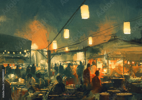 crowd of people walking in the market at night,digital painting