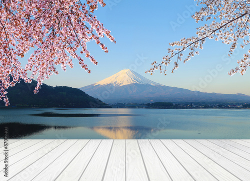 white wood terrace with Mt Fuji #87012203