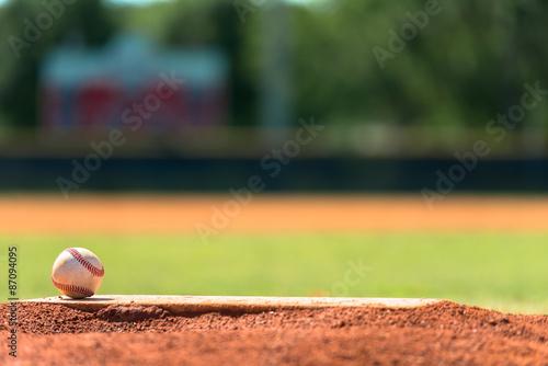 Canvas Print Baseball on pitchers mound