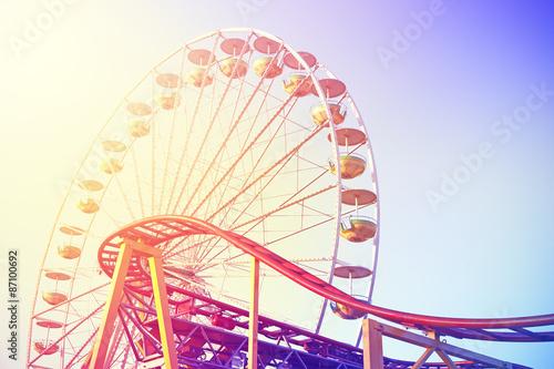 Vintage toned picture of an amusement park. Fototapet