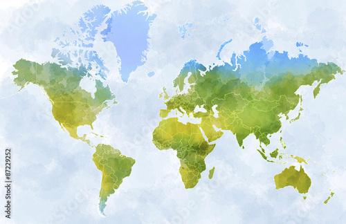 Cartina mondo, disegnata illustrata pennellate, confini Stati Fototapeta