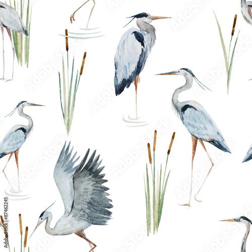 Watercolor heron pattern Fototapet