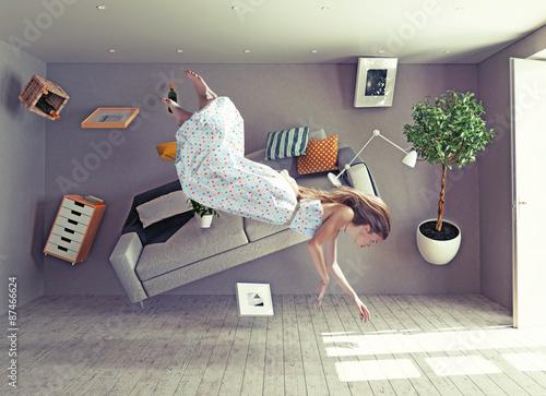 a lady fly in zero gravity room Fototapet