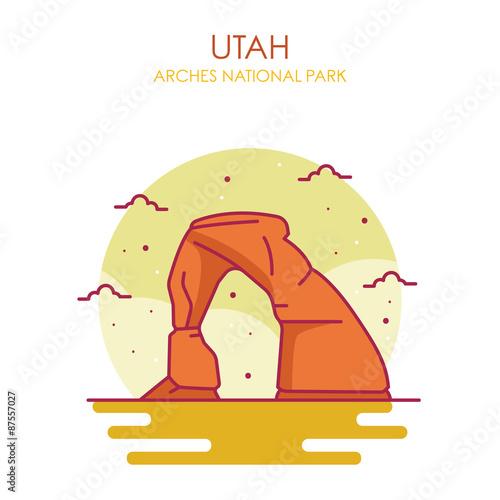 Stampa su Tela Arches National Park Vector Illustration, Utah US