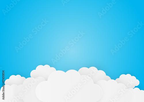 Fototapeta Białe chmury na błękitnym niebie rysunek/grafika dla dzieci