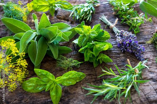 Canvastavla Fresh herbs on wooden background