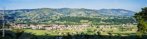 Panoramic view of a spanish town in Cantabria.
