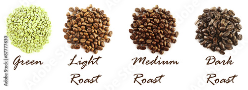 Different coffee beans isolated on white