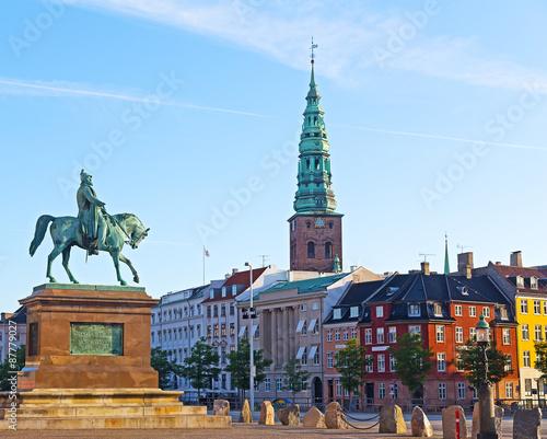 Canvas Print Equestrian statue of Frederik VII, Copenhagen, Denmark.