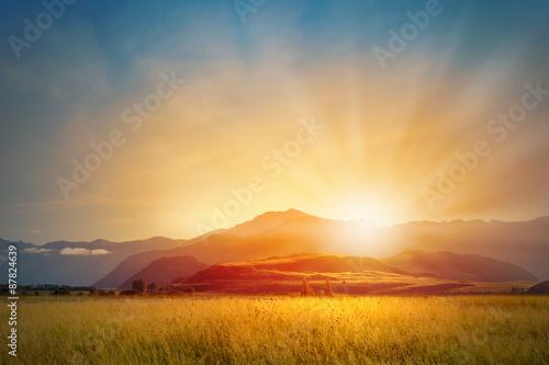 Fotografia, Obraz Sunrise above mountain