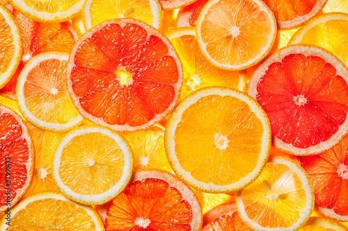 Leinwand Poster Bunte Zitrusfruchtscheiben