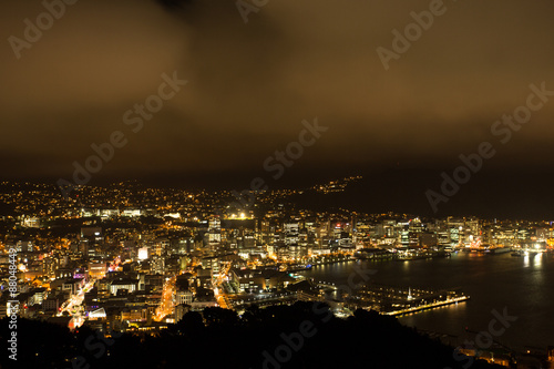 Wellington, New Zealand at night from the Mount Victoria Lookout.