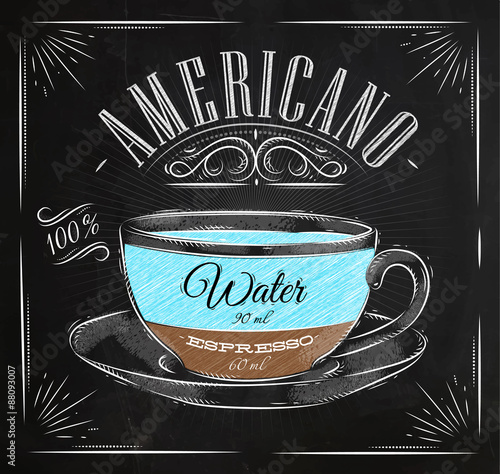 Canvas Print Poster americano chalk