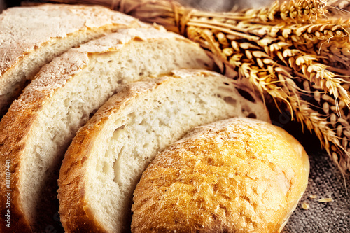 Loaf sliced white bread with ears wheat #88102441