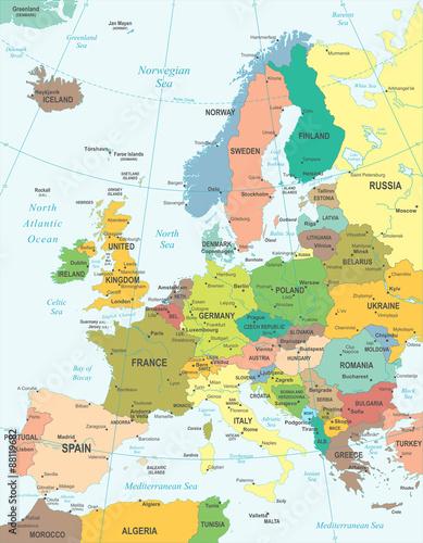 Wallpaper Mural Europe map - highly detailed vector illustration.