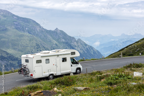 Alpine road, motorhome speeding, Eastern Alps Fototapet