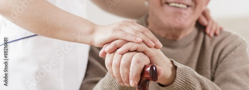 Fotografie, Obraz Senior man and caring nurse