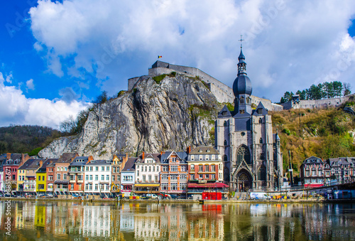 Fényképezés view over the beautiful landscape of dinant with citadel overlooking the city