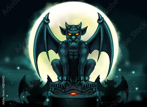 Obraz na plátne Halloween Gargoyle Illustration - Digital Painting