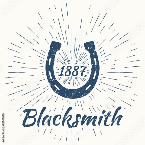 Obraz na plátně horseshoe and vintage sun burst frame. Blacksmith emblem