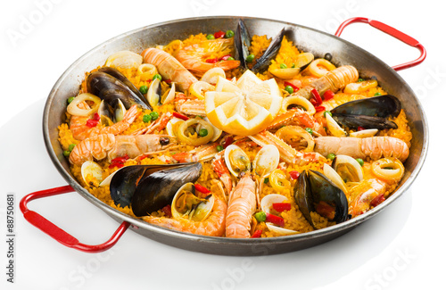 Spanish paella with seafood