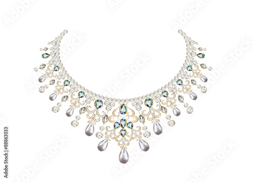 Fotografie, Obraz illustration of woman's necklace with pearls and precious stones