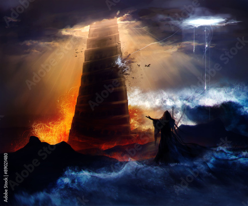Fényképezés Sorcerer in hood standing in front of an ancient destructed Babylon tower with flood, fire & hurricane illustration