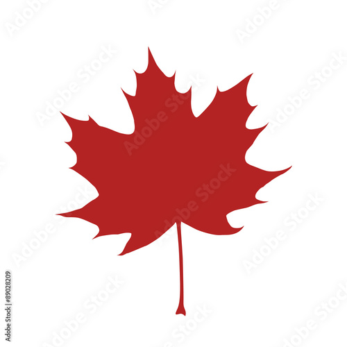 Fotografie, Obraz Red organic and natural maple leaf flat icon for apps and websites