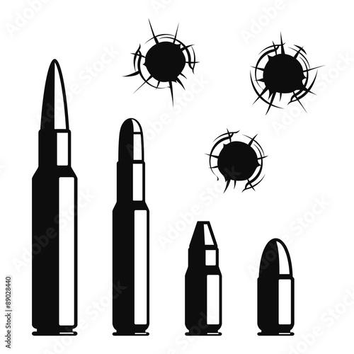 Fototapeta Vector bullet holes