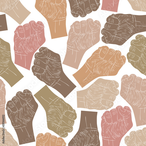 Canvas Print Clenched fists seamless pattern, vector background for wallpaper